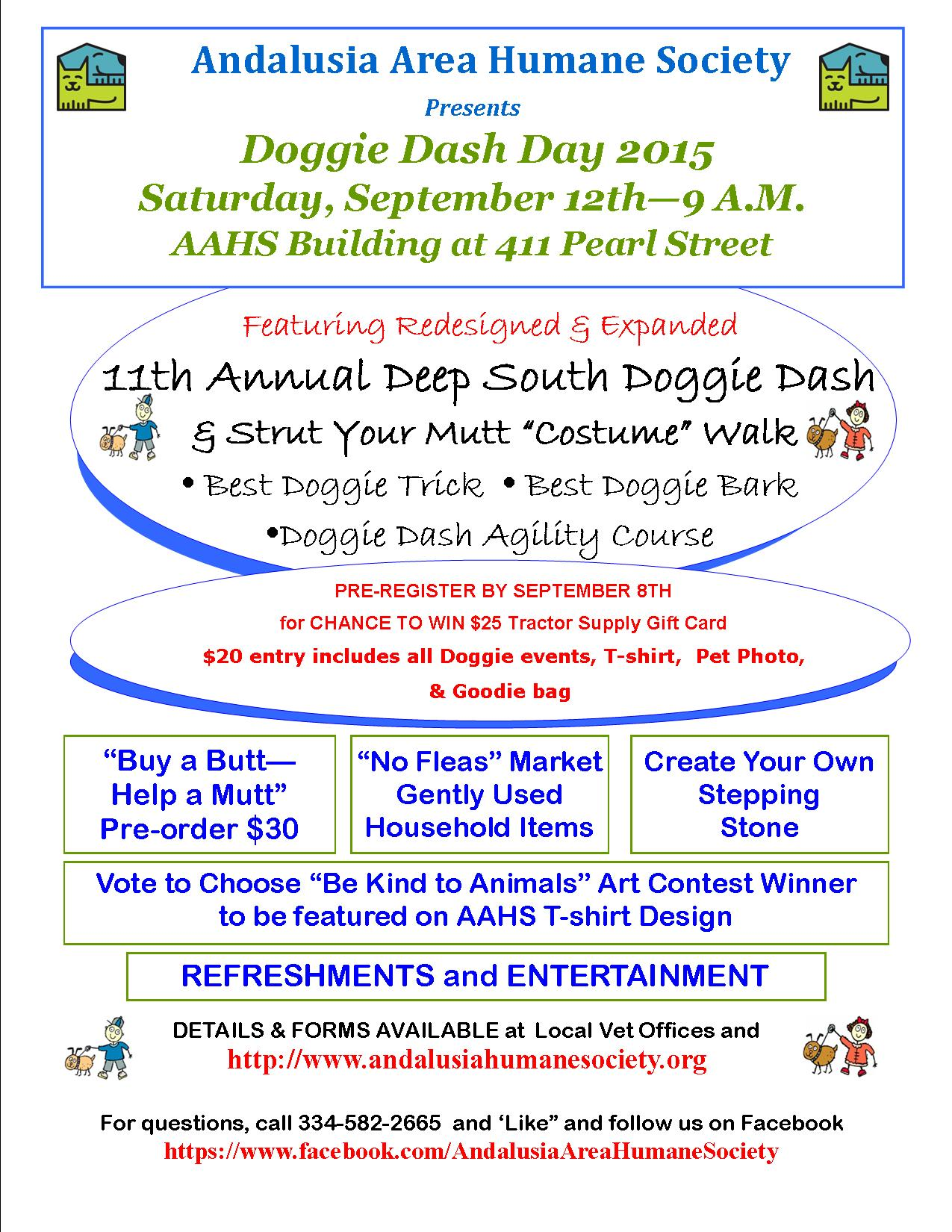 Doggie Dash Day Flyer | ANDALUSIA AREA HUMANE SOCIETY